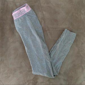 Pink and Grey Gymshark Flex Leggings